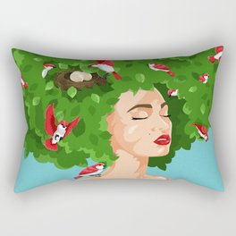 Bird Lady Rectangular Pillow