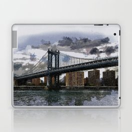 Grey Rainy Day at Manhattan Bridge NYC Laptop & iPad Skin