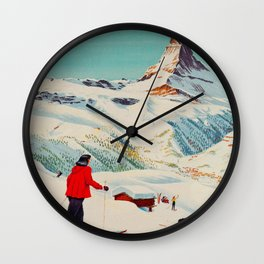 Zermatt, Switzerland Vintage Ski Travel Poster Wall Clock