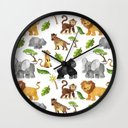 Safari Animals Pattern Watercolor Wall Clock