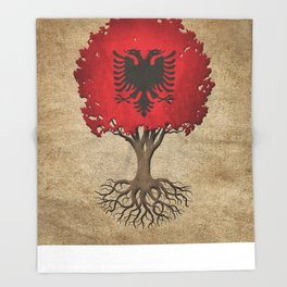 Vintage Tree of Life with Flag of Albania Throw Blanket
