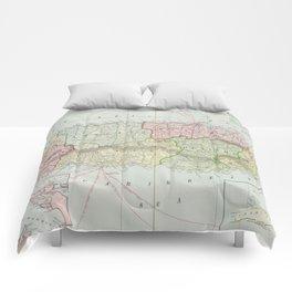 Vintage Map of Puerto Rico (1901) Comforters