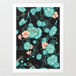 Mantises and Indian cress Art Print