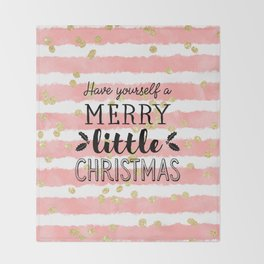 Christmas pink watercolor stripes gold confetti Throw Blanket