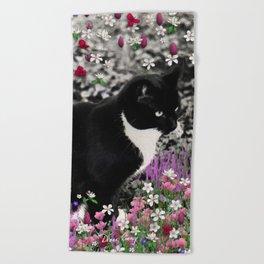 Freckles in Flowers II - Tuxedo Kitty Cat Beach Towel
