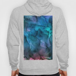 Abstract Ink Blue Turquoise Pink Marble Hoody