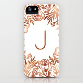 Letter J - Faux Rose Gold Glitter Flowers iPhone Case