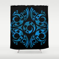 maori Shower Curtains featuring Blue Maori Style by Lonica Photography & Poly Designs
