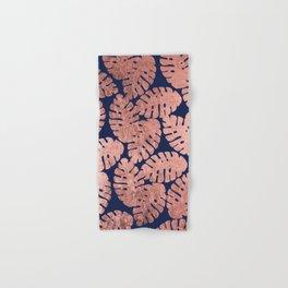 Elegant navy blue faux rose gold tropical leaves Hand & Bath Towel