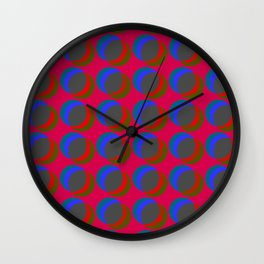 B.L.I.N.K. - optical illusion in red and blue Wall Clock