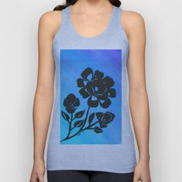 Rose Silhouette with Painted Blue Background Unisex Tank Top