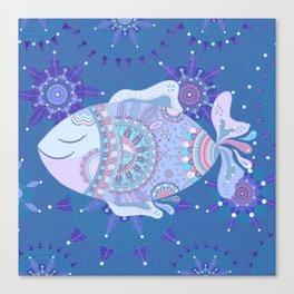 Purple Blue Touchy Fish Canvas Print