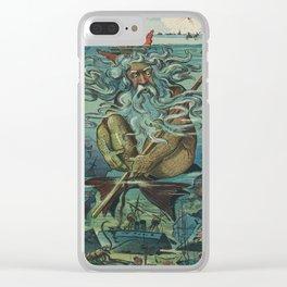 Vintage Poseidon & Sunken Ships Illustration (1898) Clear iPhone Case