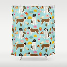 St. Bernard junk food fast food french fries dog breed pattern cute pet gifts Shower Curtain