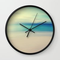 house Wall Clocks featuring Beach by ALLY COXON