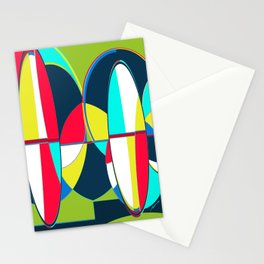 Landscape Abstract Surfboards in Blues & Greens Stationery Cards