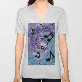 Musical Notes in Blue Unisex V-Neck