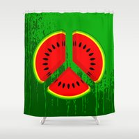 watermelon Shower Curtains featuring Watermelon by mailboxdisco