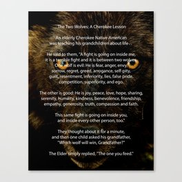 The TWO WOLVES CHEROKEE TALE Canvas Print