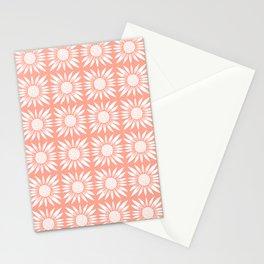 Pink Sunflower Tile Pattern V2 Stationery Cards
