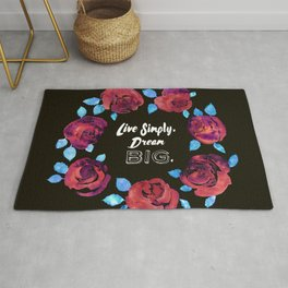 Watercolor Rose Flower Wreath Message Rug