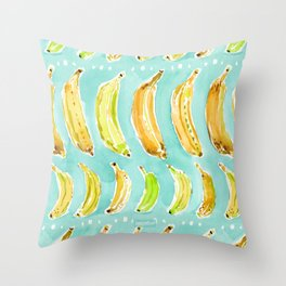 BANANA MARCH Aqua + Yellow Watercolor Throw Pillow