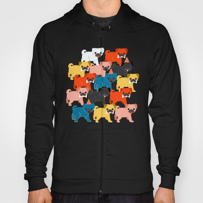 COLORED PUGS PATTERN no2 Hoody