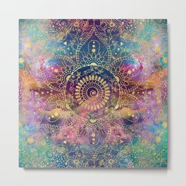 Gold watercolor and nebula mandala Metal Print