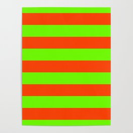 Bright Neon Green and Orange Horizontal Cabana Tent Stripes Poster
