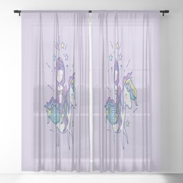 Mermaid Riding Unicorn Purple Sheer Curtain