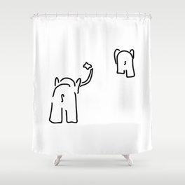 pair of elephants say goodbye Shower Curtain