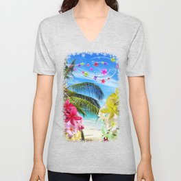 Tropical Beach and Exotic Plumeria Flowers Unisex V-Neck