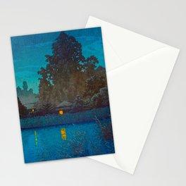 Vintage Japanese Woodblock Print Japanese Farm Village Tall Trees And Pond Stationery Cards
