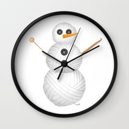 Yarn Snowman Wall Clock