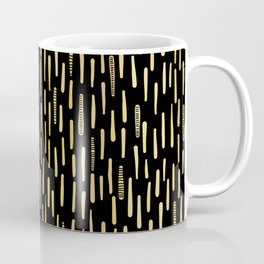 Black Gold Foil Lines Stripes Pattern Seamless Vector Hand Drawn Coffee Mug