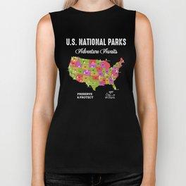 US national Parks Map Biker Tank
