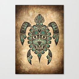 Vintage Teal Blue Haida Spirit Sea Turtle Canvas Print