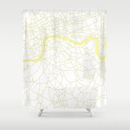 London White on Yellow Street Map Shower Curtain