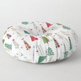 Scandinavian Christmas Trees Pattern - Red Green Floor Pillow