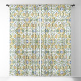 Seamless Floral Pattern Ornamental Tile Design : 9 yellow, green Sheer Curtain