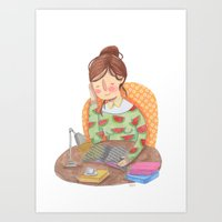 reading Art Prints featuring Reading by Maria Garcia
