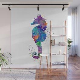 Seahorse Colorful Watercolor Art Gift Ocean Art Wall Mural