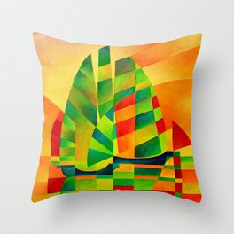 Chinese Junks, Sunset, Sails and Shadows Throw Pillow