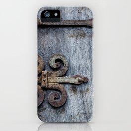 rusty hinge on blue iPhone Case