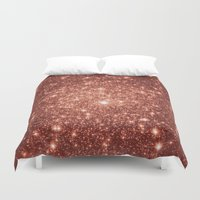 rose gold Duvet Covers featuring rose gold stars by GalaxyDreams