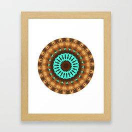 Aztec Brown and Blue Emblem Framed Art Print