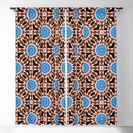 Lightning Mandala - White, blue, orange- Mandala Fractal Blackout Curtain
