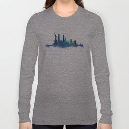 NY New York City Skyline NYC Watercolor art Long Sleeve T-shirt