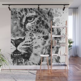 Black And White Half Faced Leopard Wall Mural