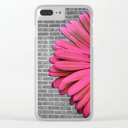 Halb Bricks Half Flower Clear iPhone Case